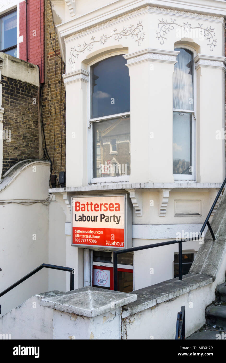 The offices of Battersea Labour Party in Lavender Hill. - Stock Image