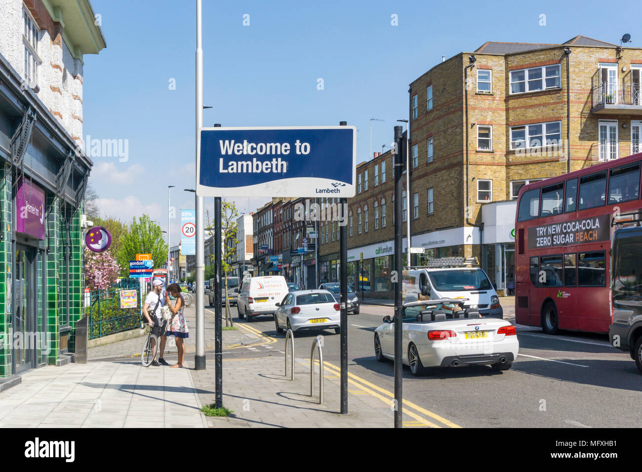 A sign reads Welcome to Lambeth on Wandsworth Road in South London. - Stock Image