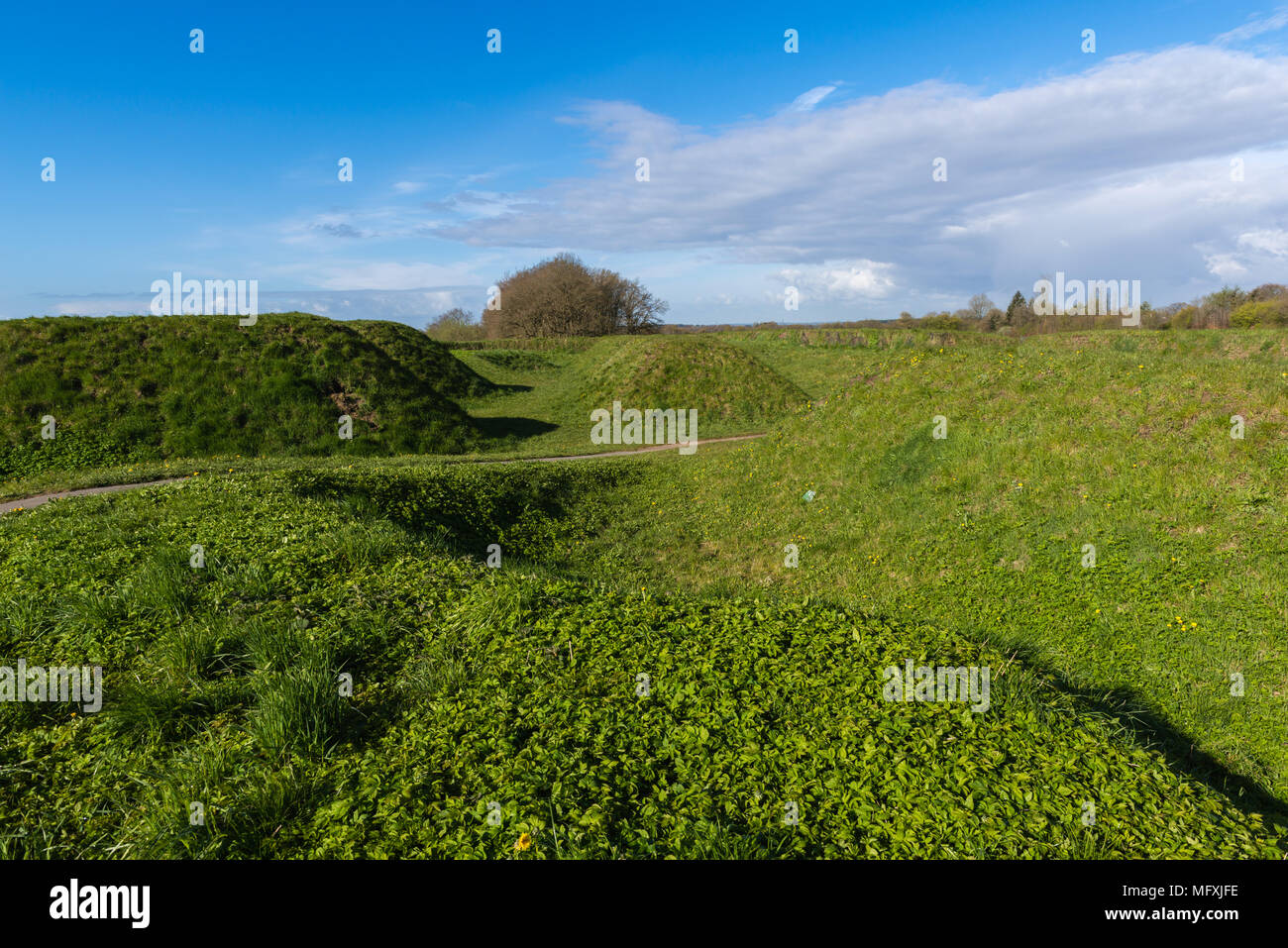 Bastion 14, a modified construction of the medieval Danevirke or Daneverk for the German - Danish war of 1864, Dannewerk, Schleswig, Germany, Europe - Stock Image