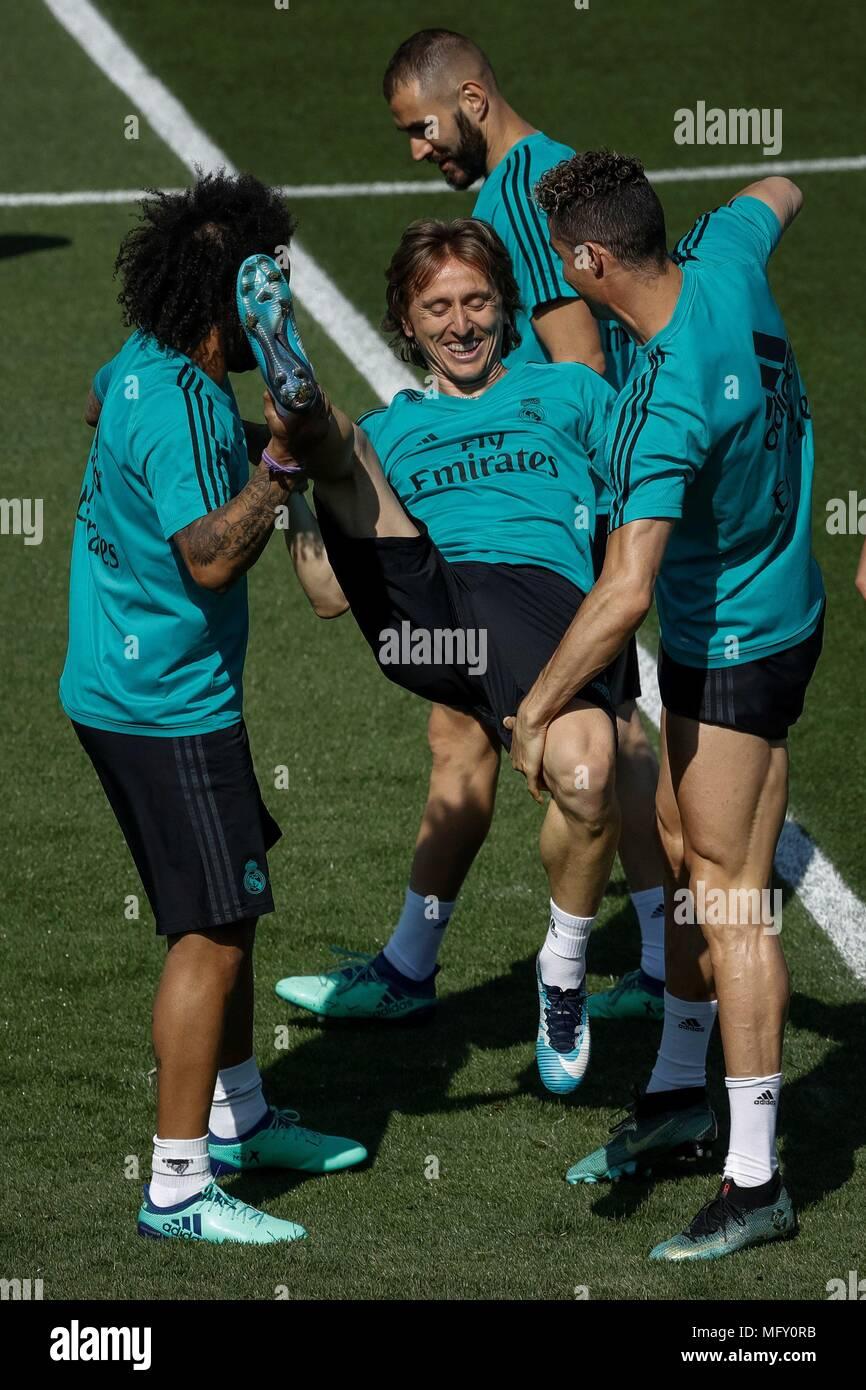 7056ab5d6f45 Real Madrid's Brazilian defender Marcelo Vieira (L) and Portuguese striker Cristiano  Ronaldo (R), joke with Croatian midfielder, Luka Modric (C), ...
