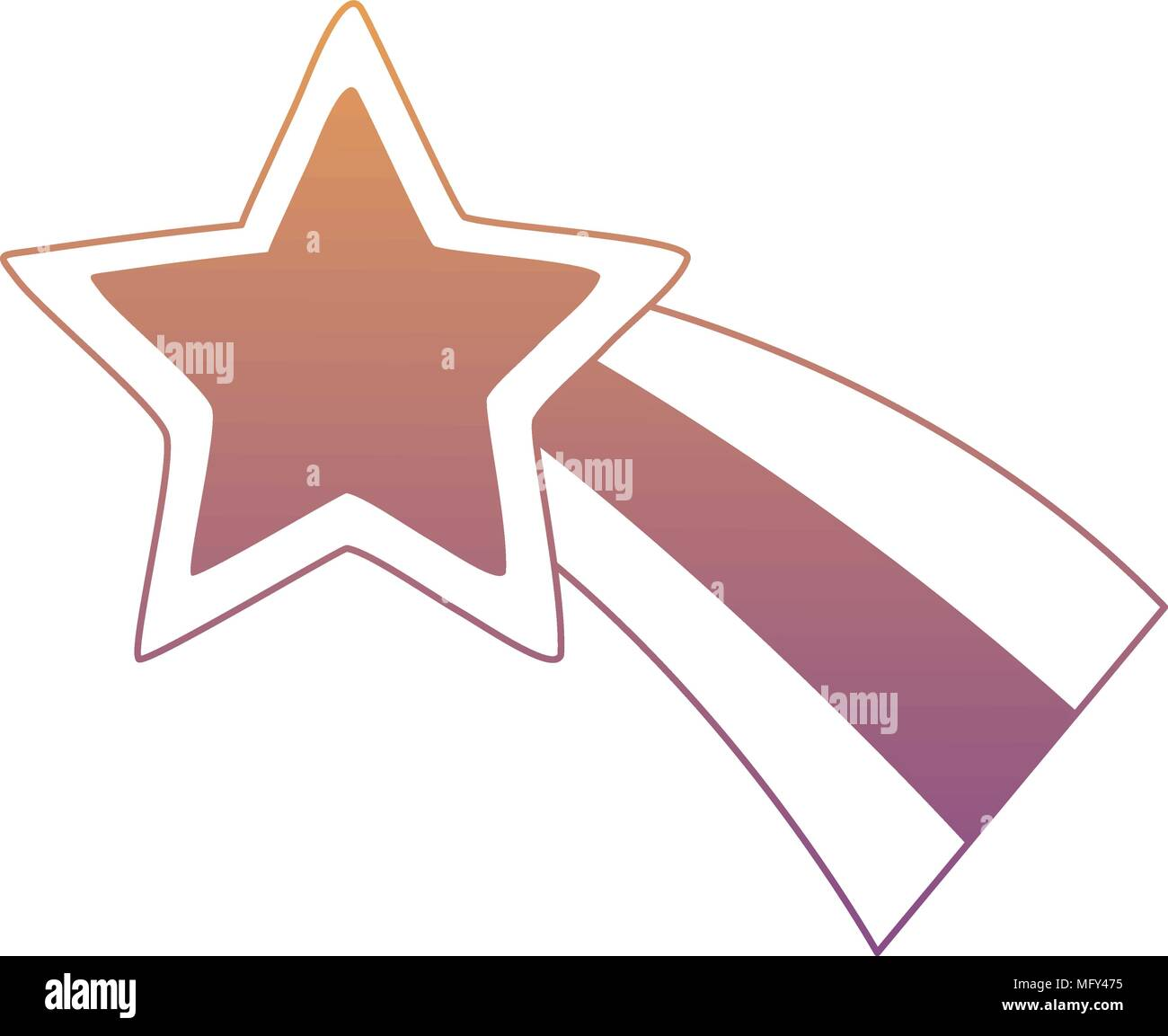 Cute Shooting Star Icon Over White Background Colorful Design