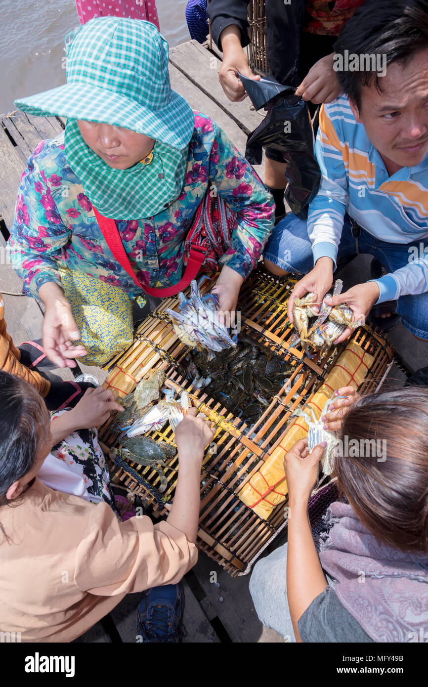 Cham muslim traders with a catch of crabs in the Crab market in Kep, Cambodia - Stock Image