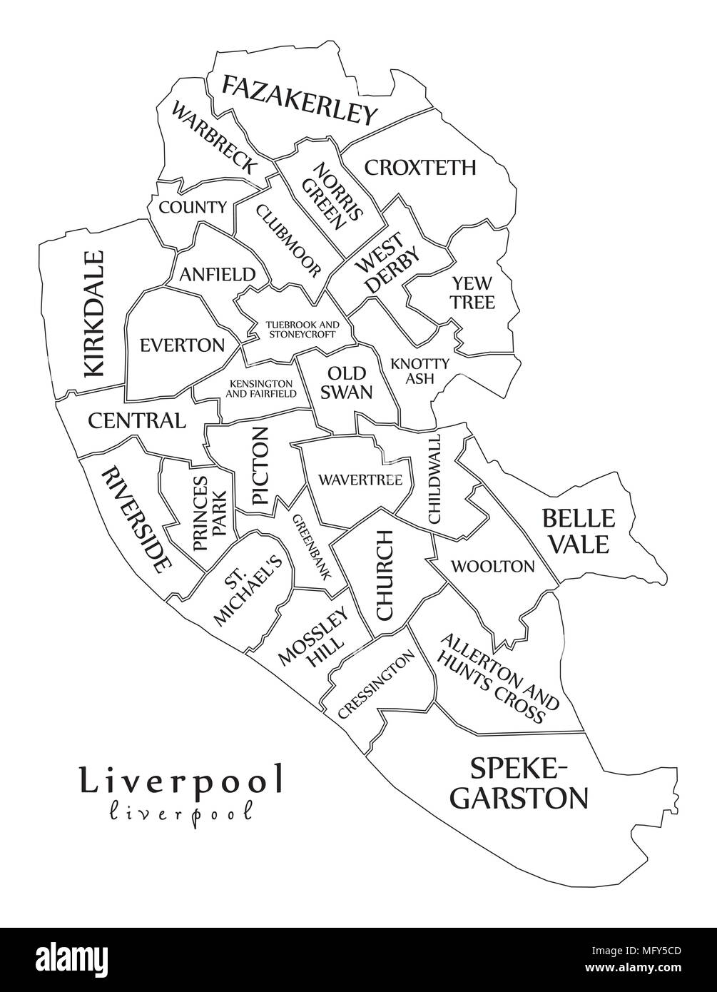 Modern City Map - Liverpool city of England with wards and titles UK ...