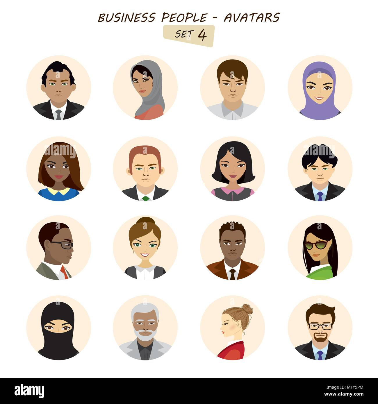 People avatars collection,business man and business woman different races, isolated on white background ,stock vector illustration. - Stock Image