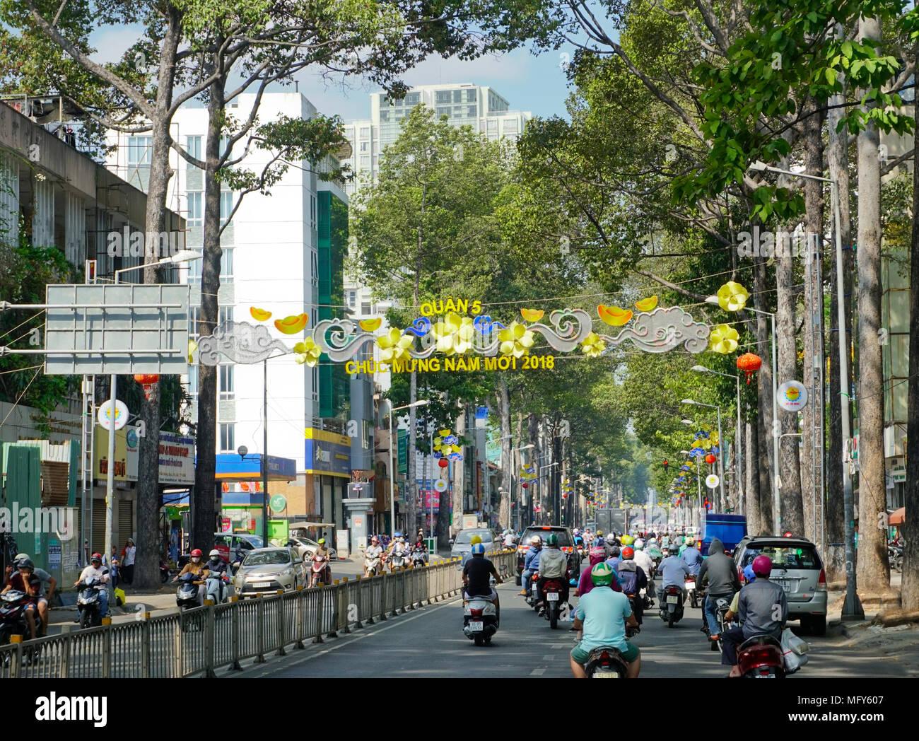 Duong Tran Hung Dao Street Chinatown Business Ho Chi Minh City Saigon Vietnam Stock Photo Alamy