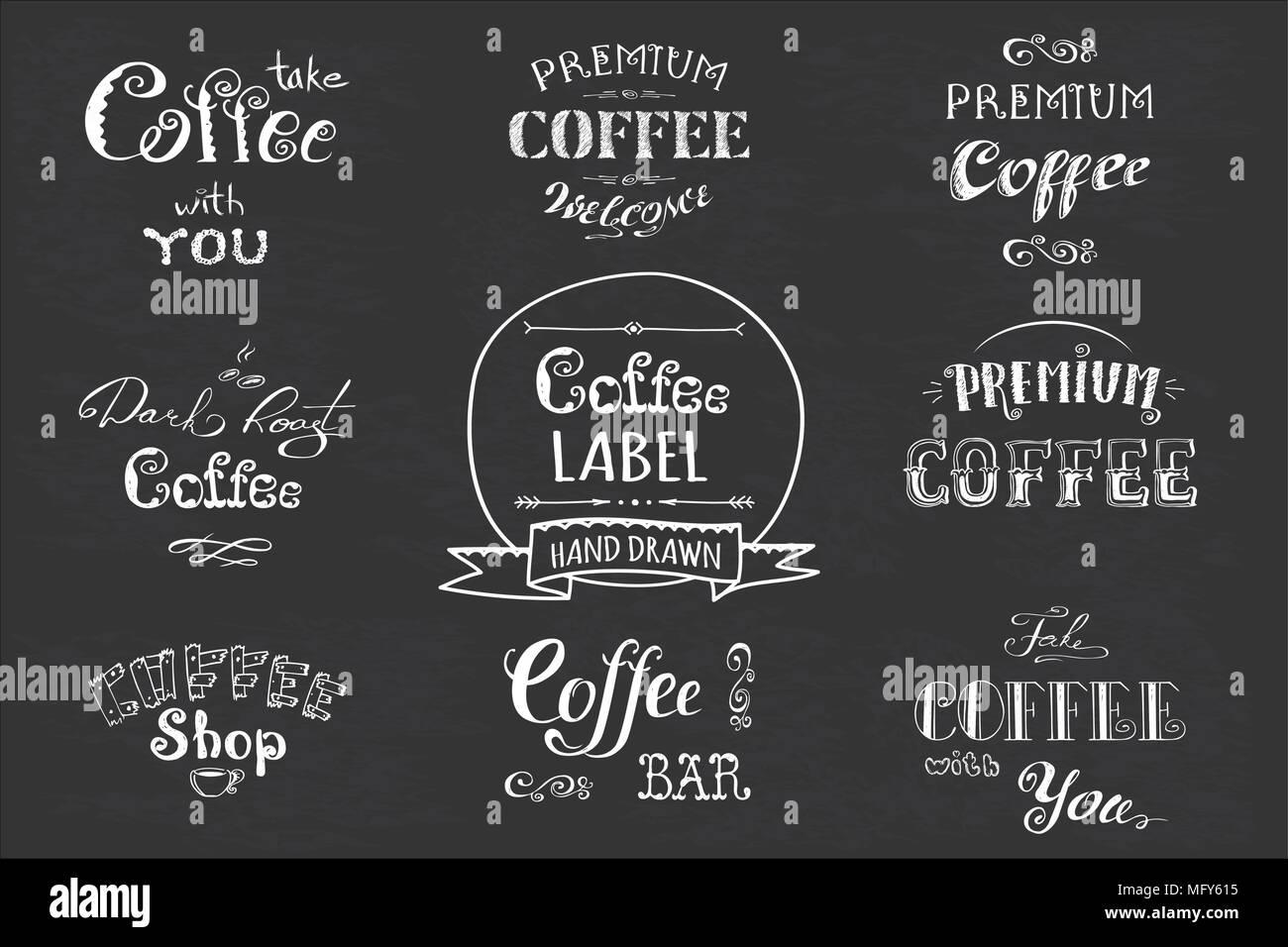 Set Coffee Labelbanner Or Typographylettering Hand Drawn Chalkboard Dark Background Stock Vector Illustration