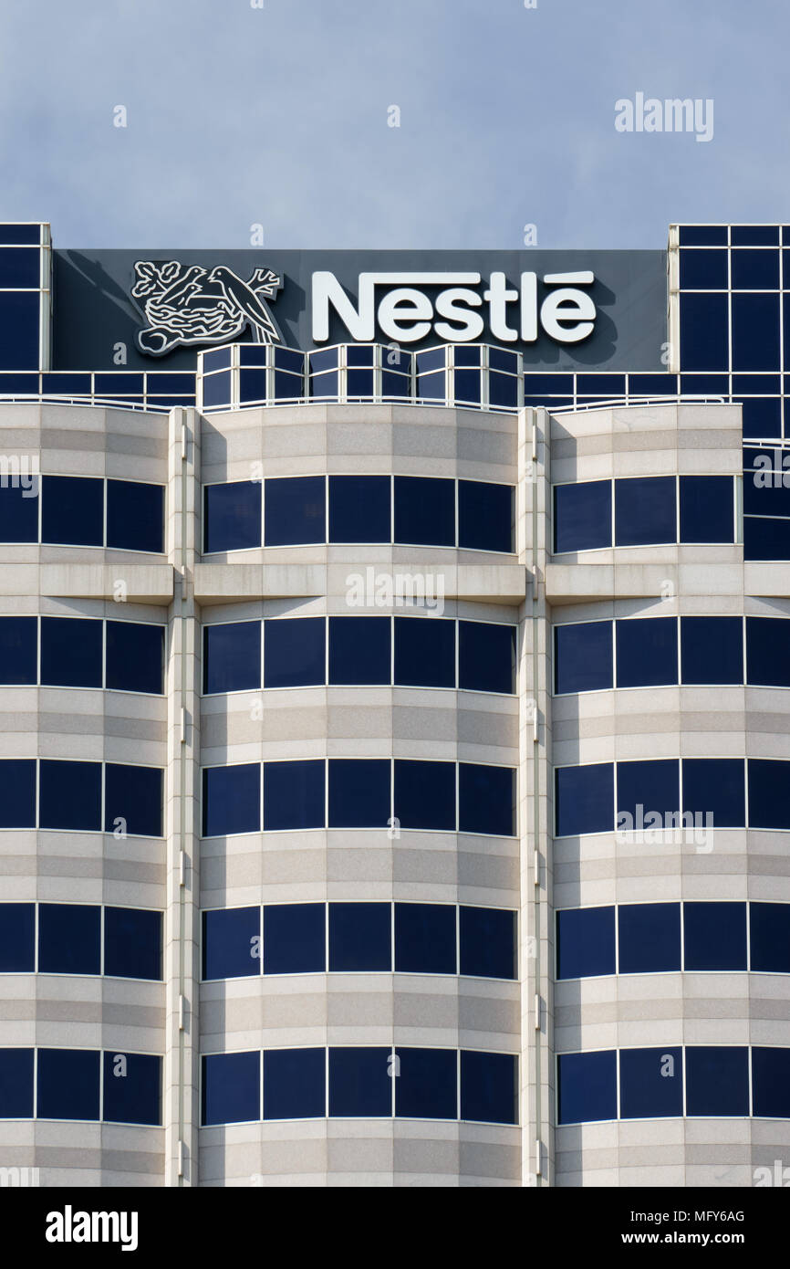 GLENDALE, CA/USA - OCTOBER 24, 2105: Nestle USA headquarters. Nestle is a Swiss transnational food and beverage company. - Stock Image