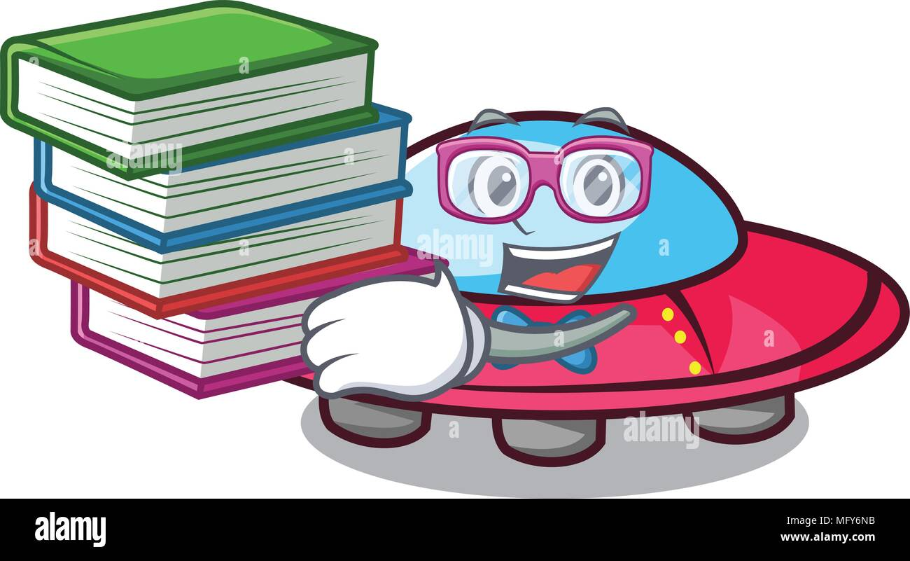 Student with book ufo mascot cartoon style - Stock Image