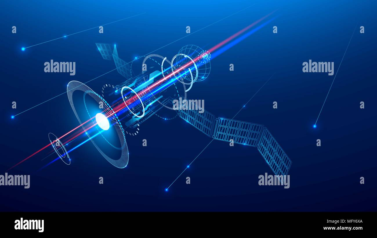 a communications satellite is flying in space above the earth - Stock Vector