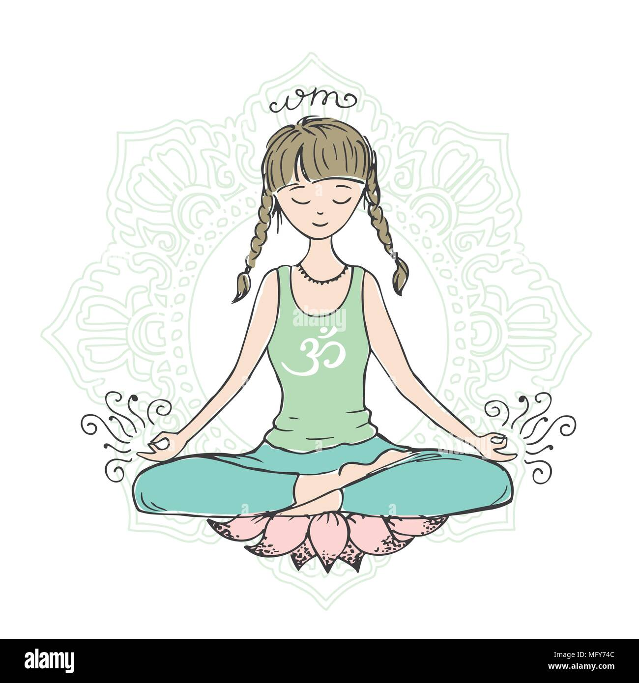 Girl In Lotus Yoga Pose Doodle Hand Drawn Sketch Isolated Stock Vector Image Art Alamy