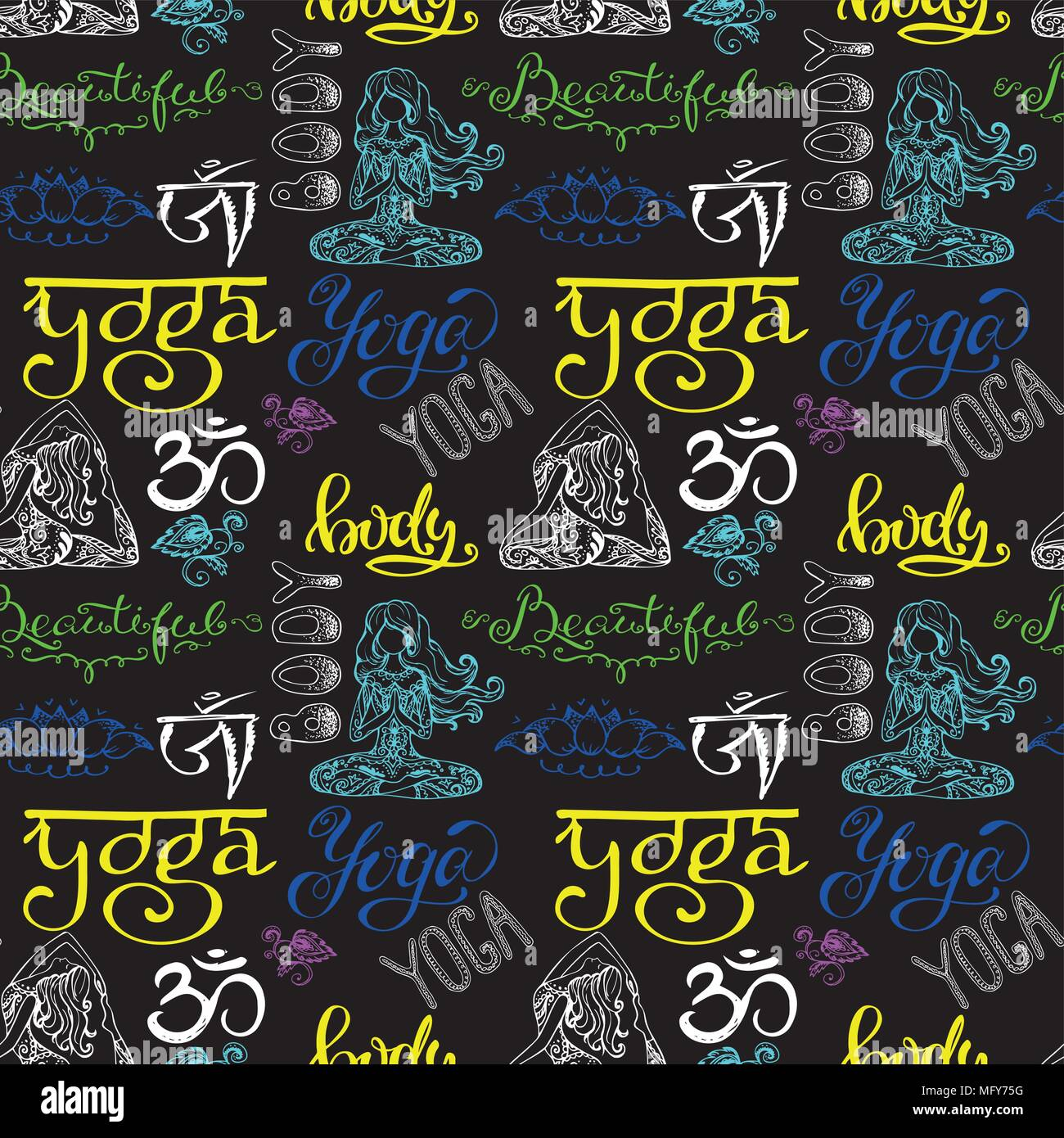 Colorful Yoga seamless pattern with lettering,ornament,girl in y - Stock Vector