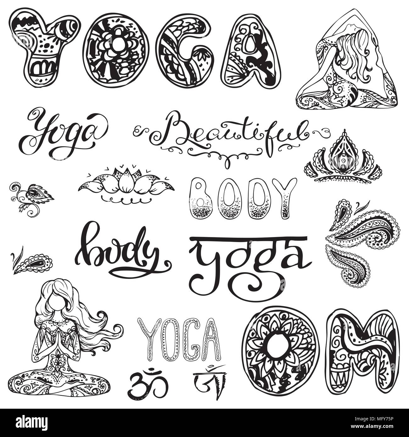 Yoga set with lettering,ornament,yoga pose.  - Stock Image