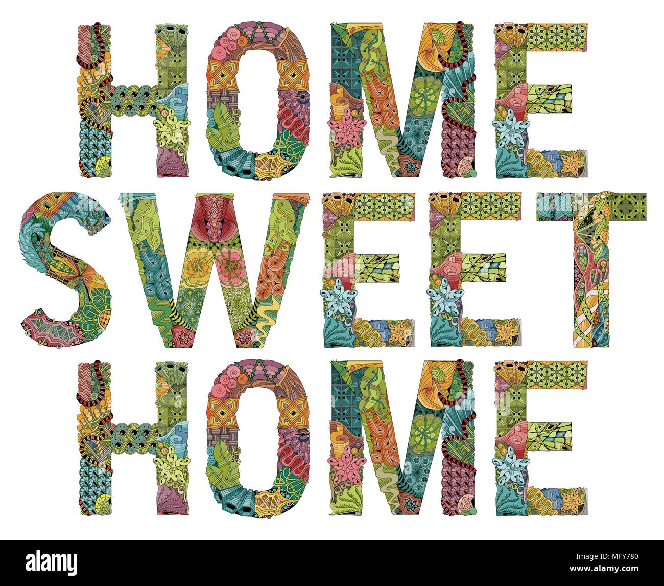 Hand-painted art design. Hand drawn illustration word HOME SWEET HOME for t-shirt and other decoration - Stock Vector