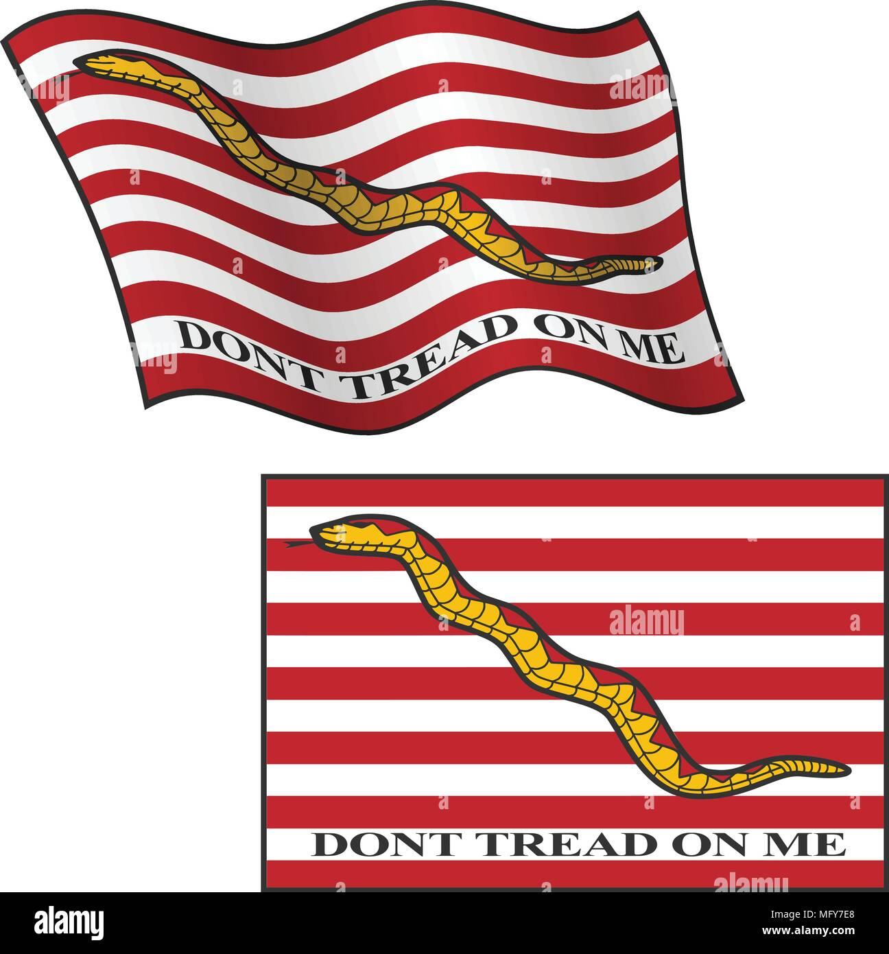 Dont Tread On Me Flag, Waving and Flat, Vector Graphic Illustration - Stock Vector