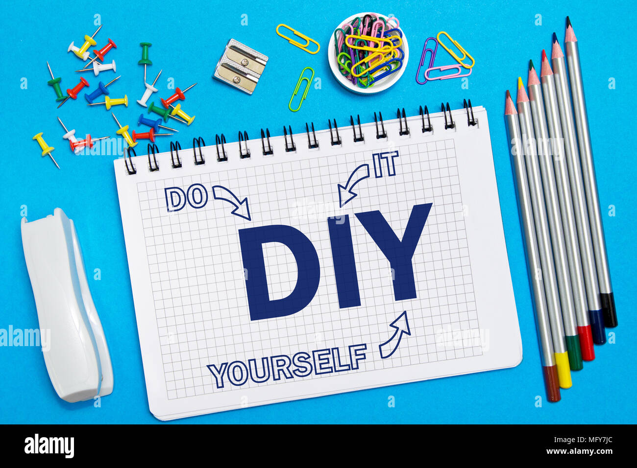Do it yourself notes in the notebook on the desk in the office do it yourself notes in the notebook on the desk in the office business concept diy do it yourself solutioingenieria Images
