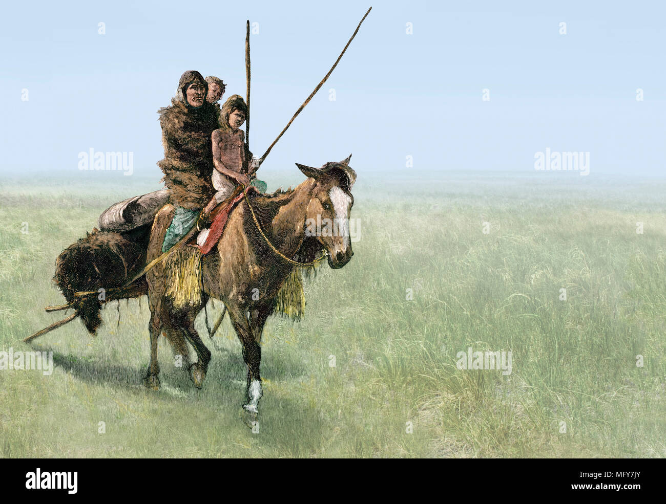 Native American family traveling on a travois pony on the prairie. Composite of hand-colored woodcut and a photograph - Stock Image