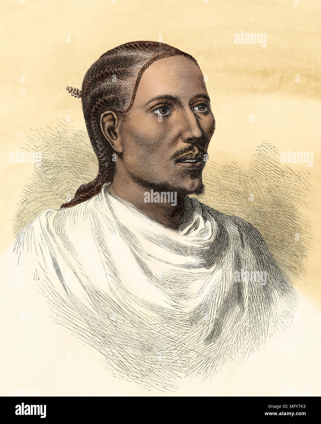 Dejazmach Kessai, Prince of Tigray (later Yohannes IV, King of Ethiopia), 1868. Digitally colored woodcut - Stock Image
