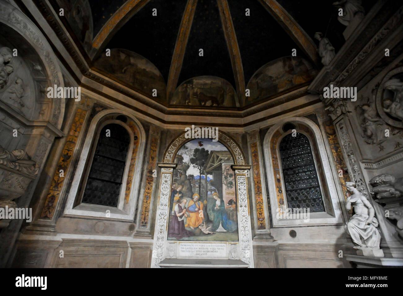 Cappella del Presepio or Cappella di San Girolamo (Della Rovere or Saint Jerome Chapel or Chapel of the Nativity) in Renaissance and Baroque Basilica  - Stock Image