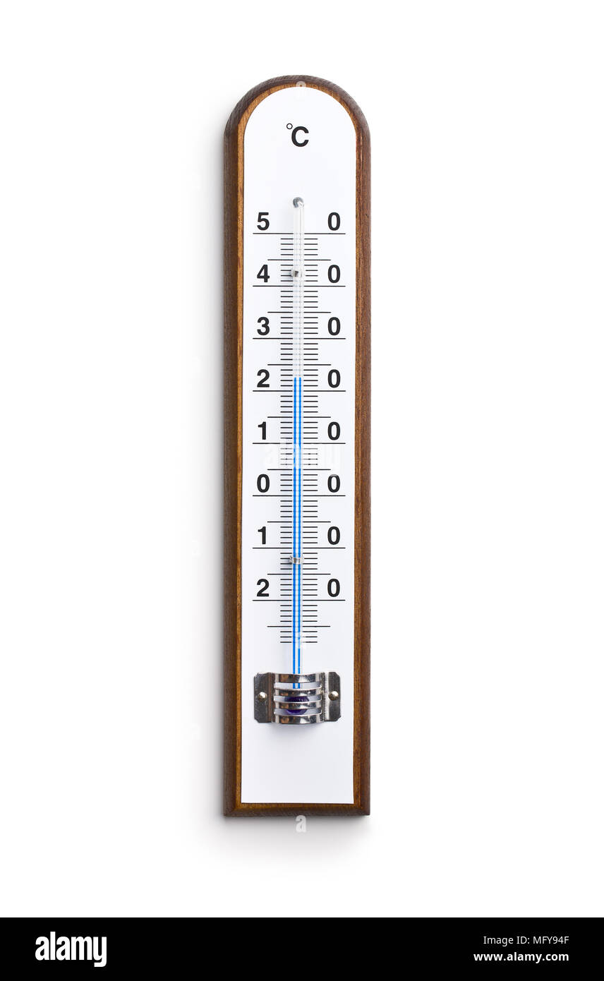Wooden weather Thermometer isolated on white background. - Stock Image