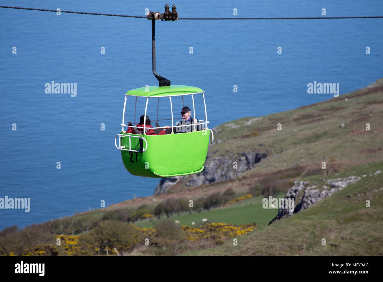 A view of the Llandudno cable car over the Great Orme in