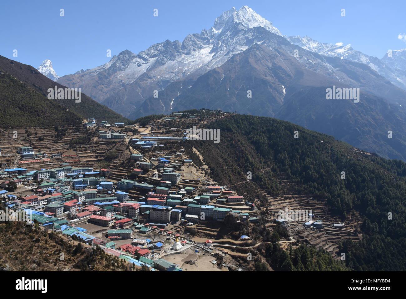 Namche Bazaar and Thamserku, Nepal - Stock Image