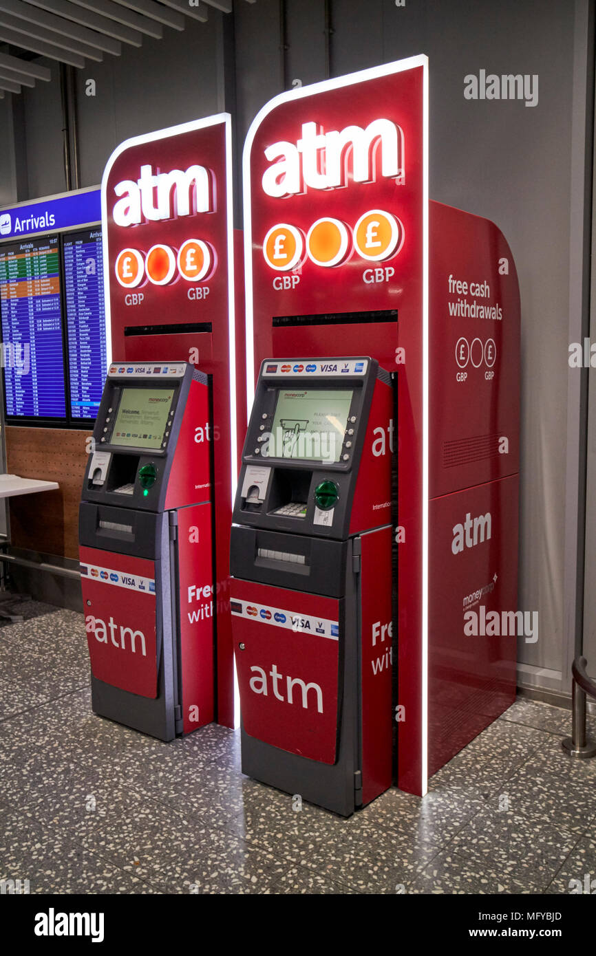 independent atm machines in arrivals area of bristol airport england uk - Stock Image