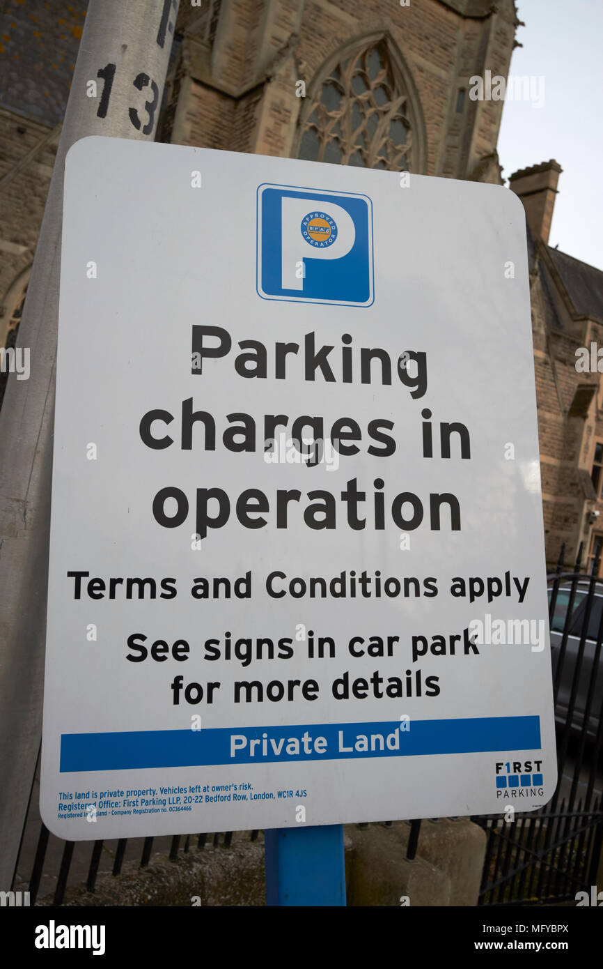 warning sign for private land and parking charges in operation bath england uk Stock Photo