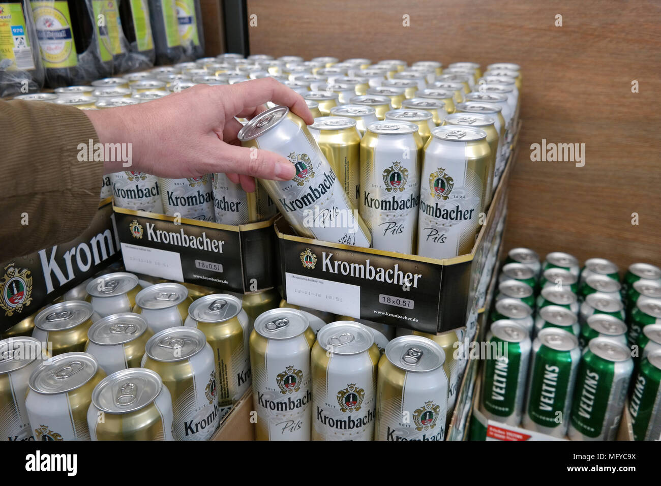 Krombacher beer in a store - Stock Image