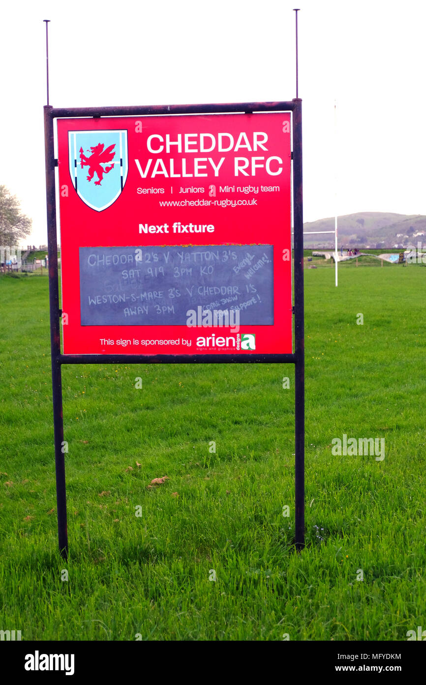 April 2018 - Fixtures sign and notice board for Cheddar Valley RFC, Rugby Club. - Stock Image