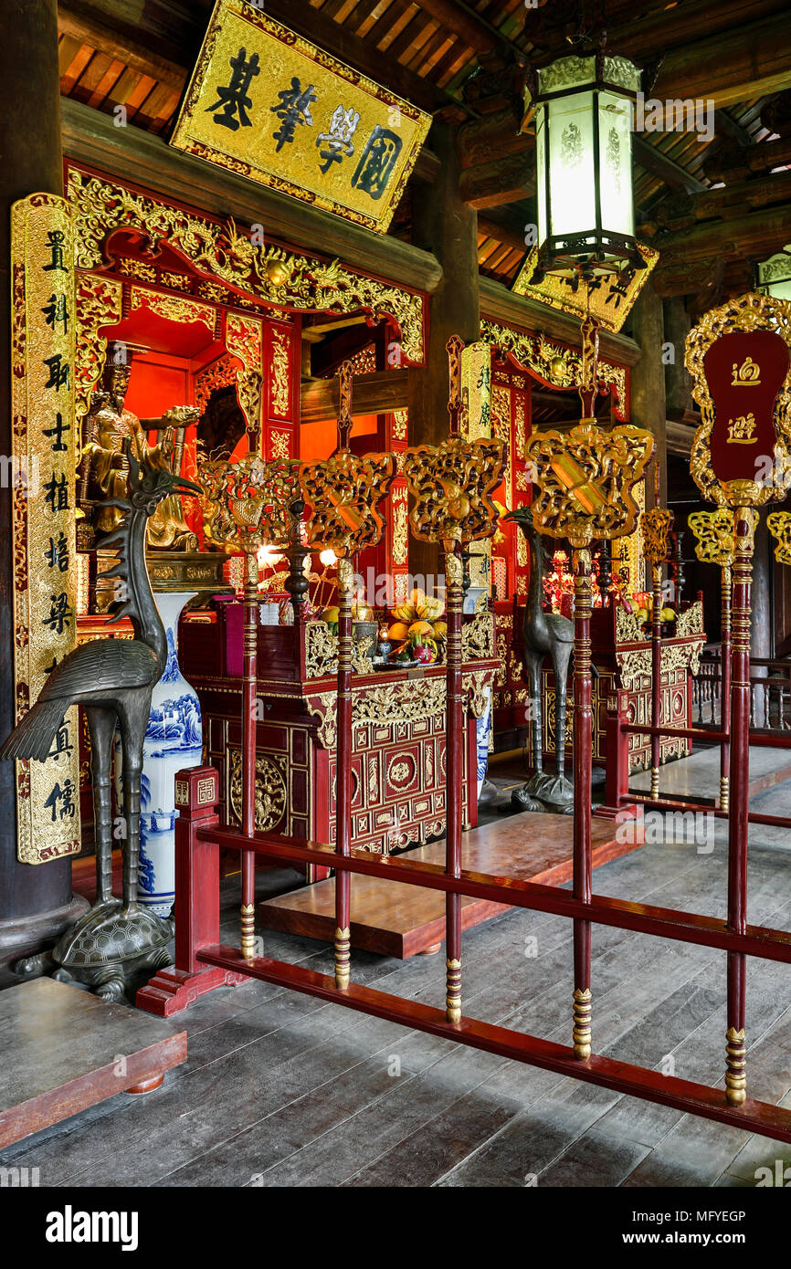 Shrines to founders of Imperial Academy, Temple of Literature, Hanoi, Vietnam - Stock Image