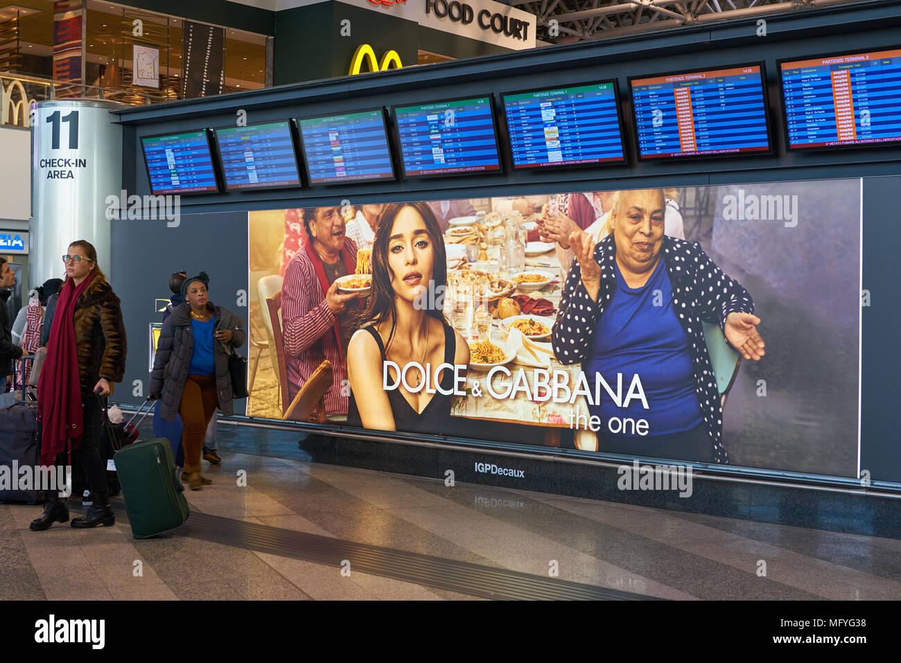 MILAN MALPENSA, ITALY - CIRCA NOVEMBER, 2017: flight information display monitors at Milan-Malpensa airport. - Stock Image