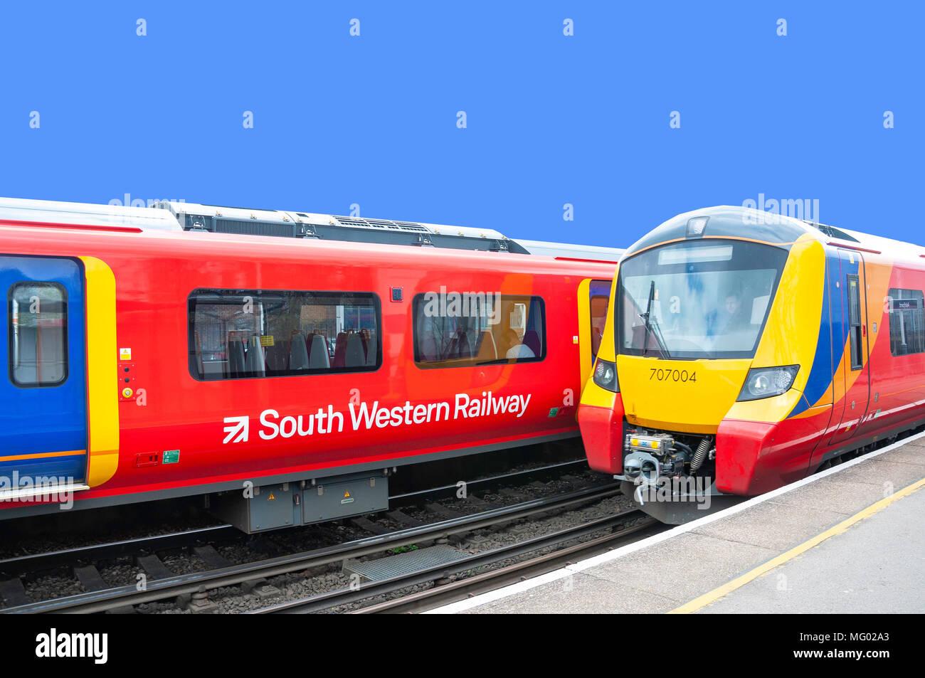 South Western Railway trains at Ashford Railway Station, Ashford, Surrey, England, United Kingdom - Stock Image