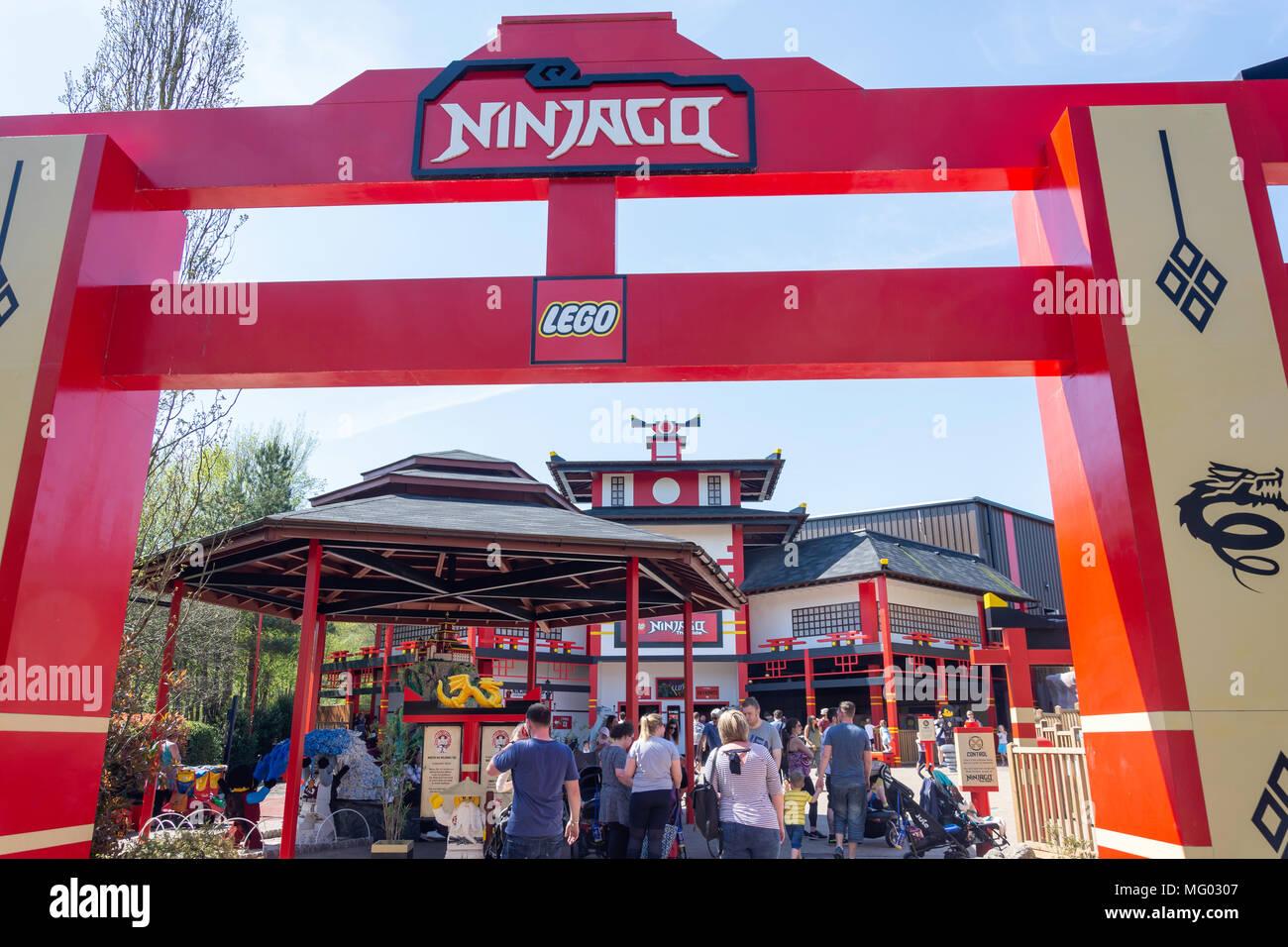 Entrance gate to Lego Ninjago World ride at Legoland Windsor Resort, Windsor, Berkshire, England, United Kingdom Stock Photo
