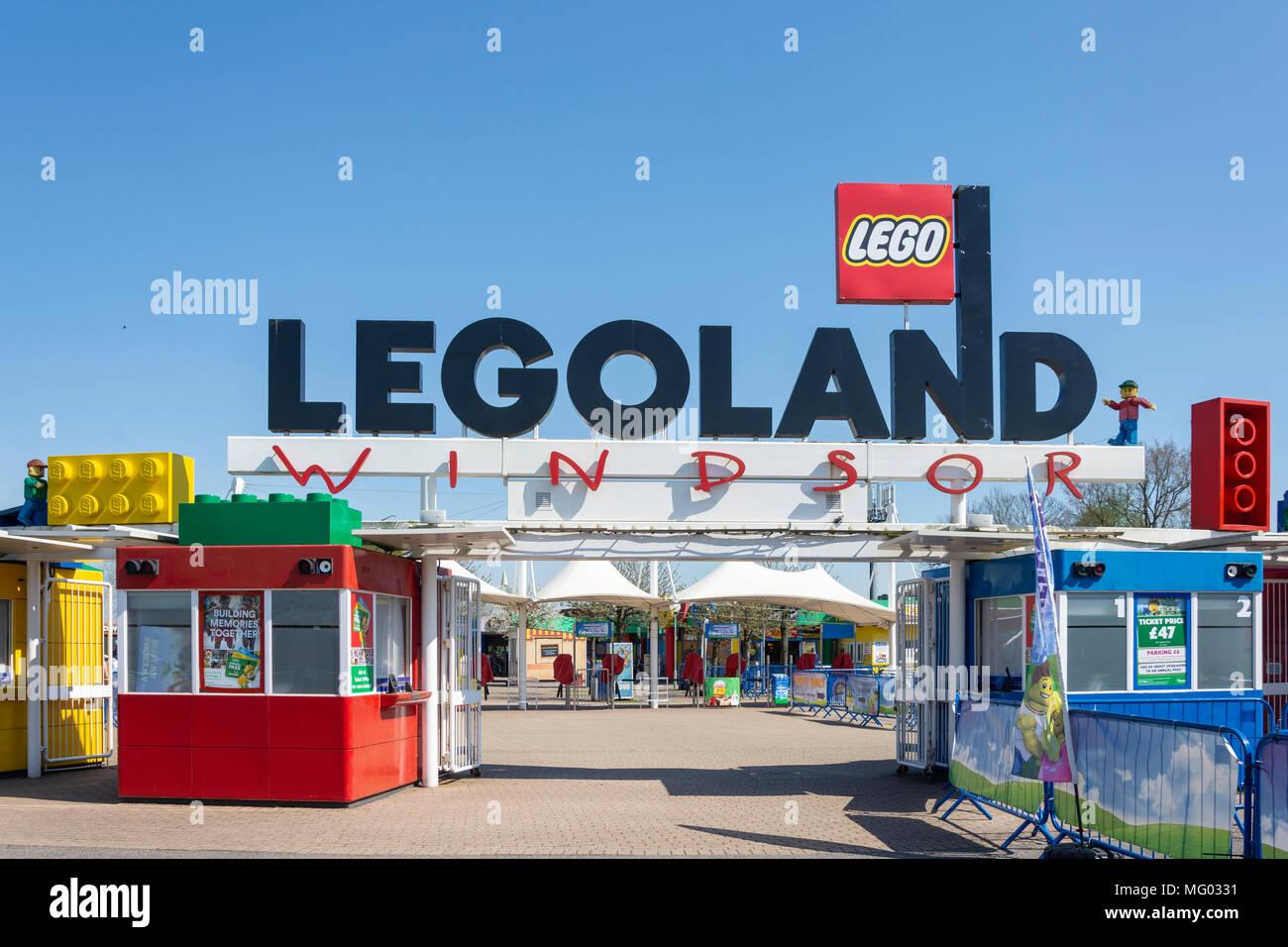 Entrance gate to Legoland Windsor Resort, Windsor, Berkshire, England, United Kingdom Stock Photo