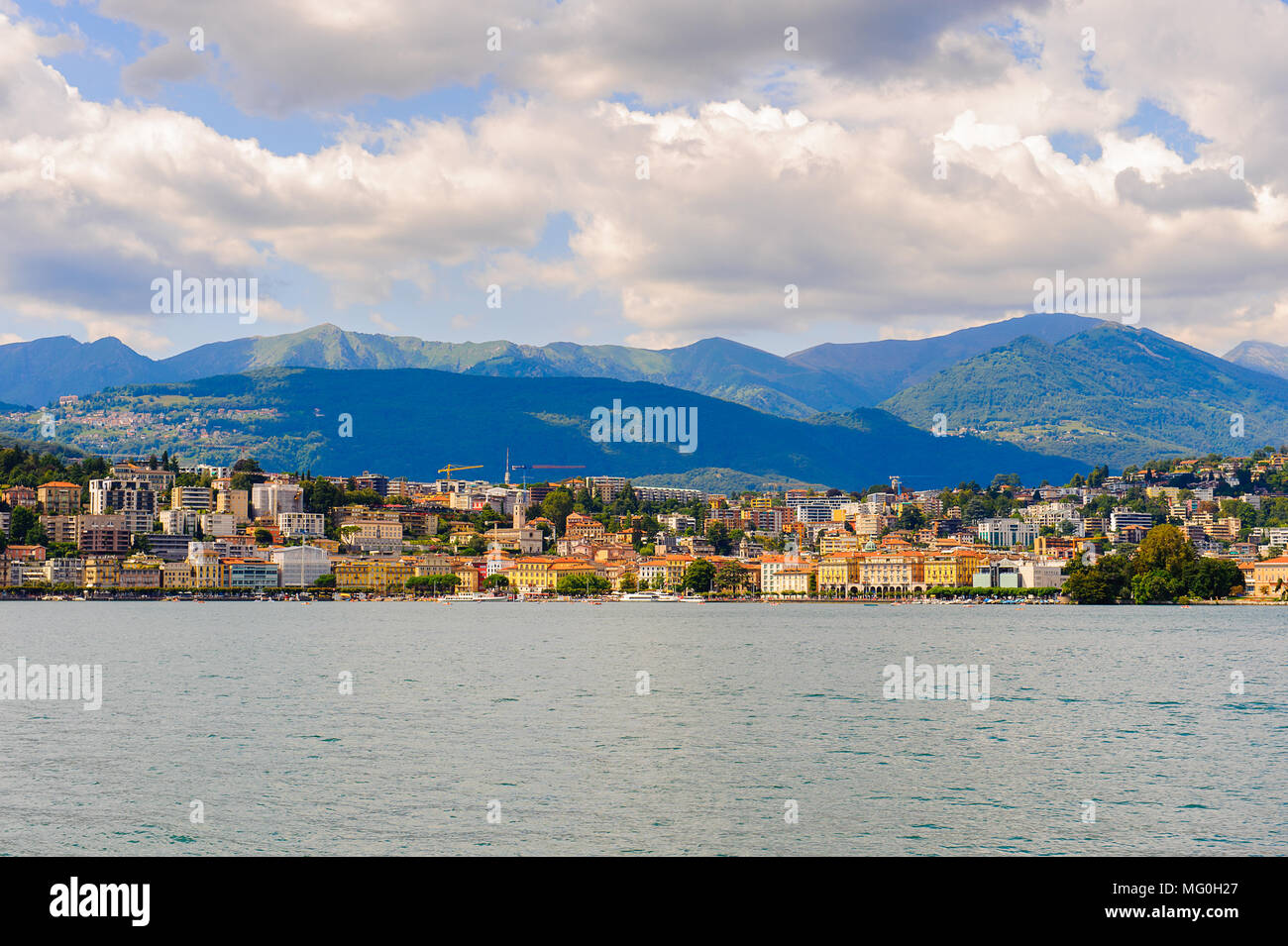 Beautiful panorama of Lugano city, south of Switzerland Stock Photo