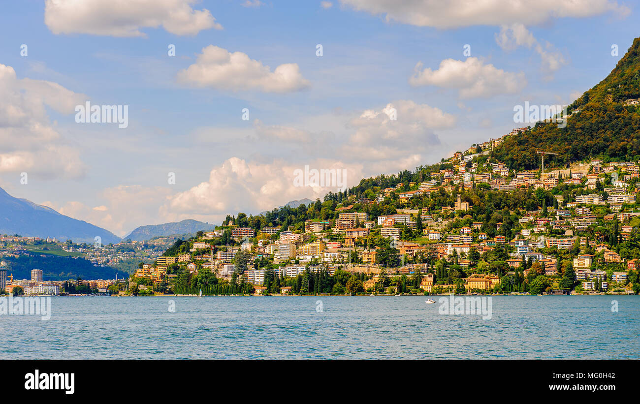 Lugano city on the mountain Bre, SWitzerland Stock Photo
