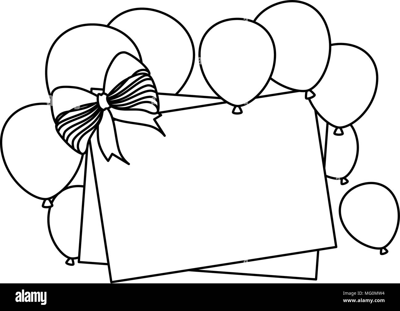 happy birthday card template balloons black and white stock photos