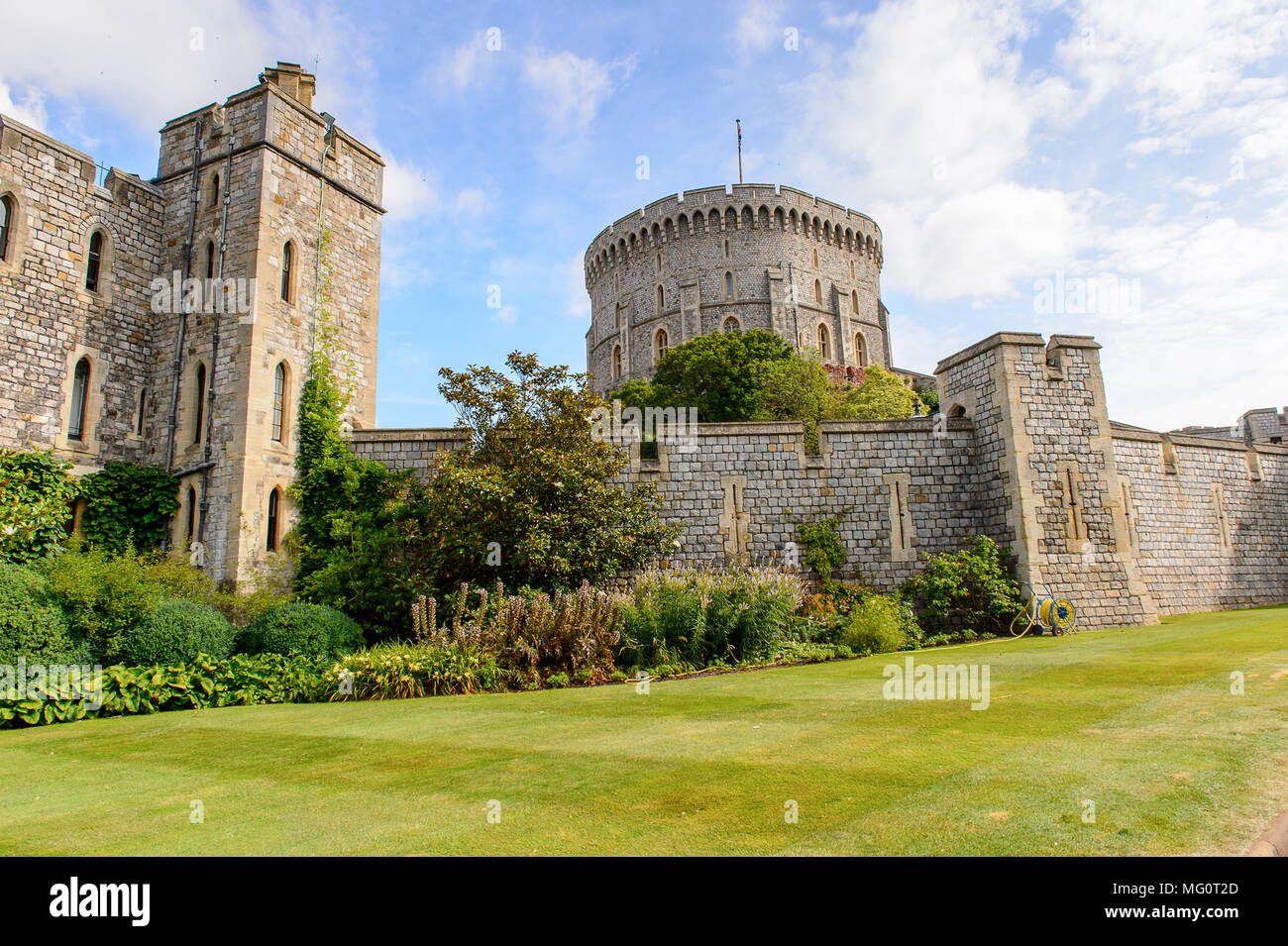 Round Tower of the Windsor Castle, Berkshire, England. Official Residence of Her Majesty The Queen - Stock Image