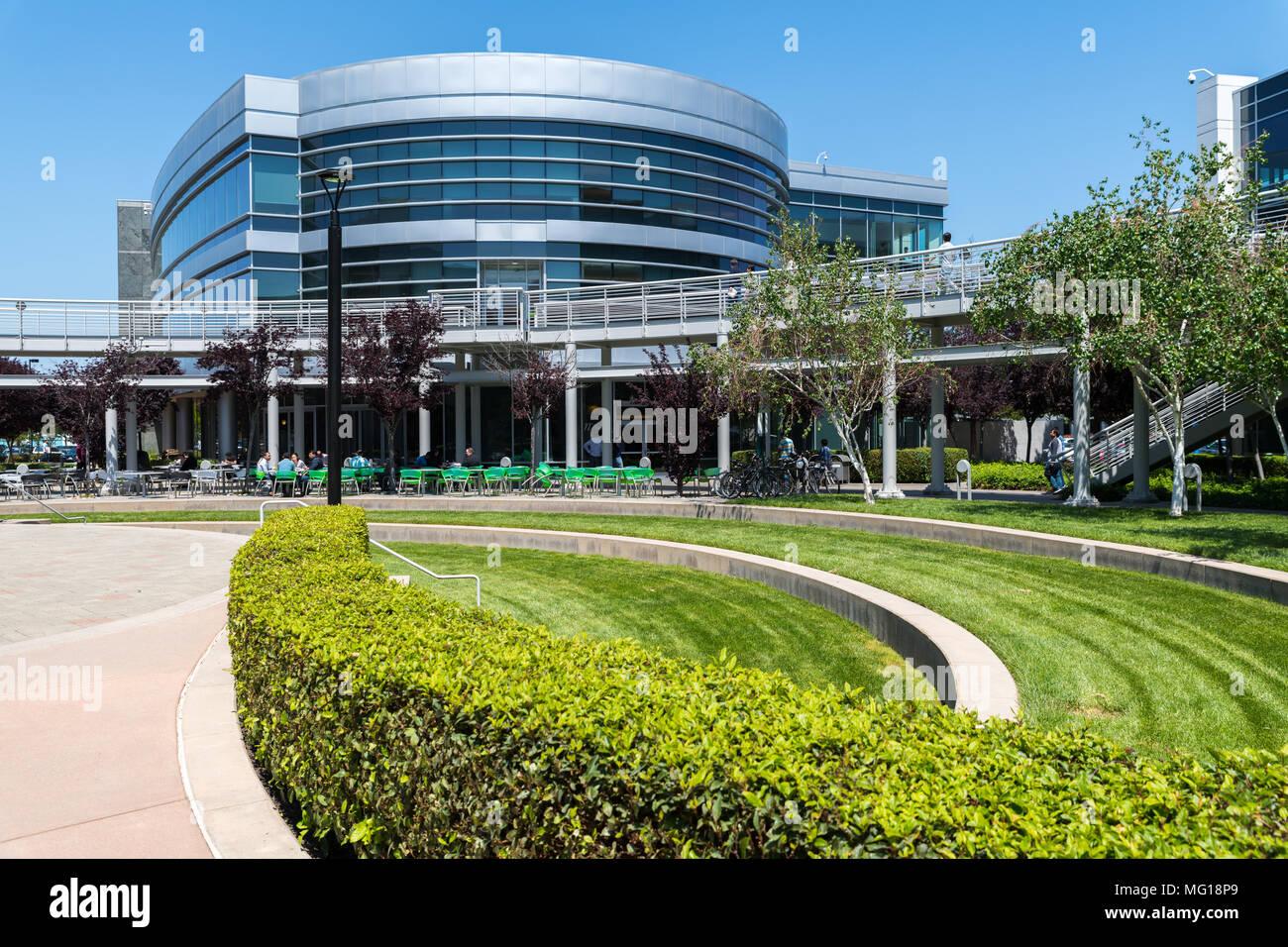 Santa Clara, California, USA - April 26, 2018: NVDIA Corporation, headquarters in Silicon Valley. NVDIA Corporation is an American technology company, Stock Photo