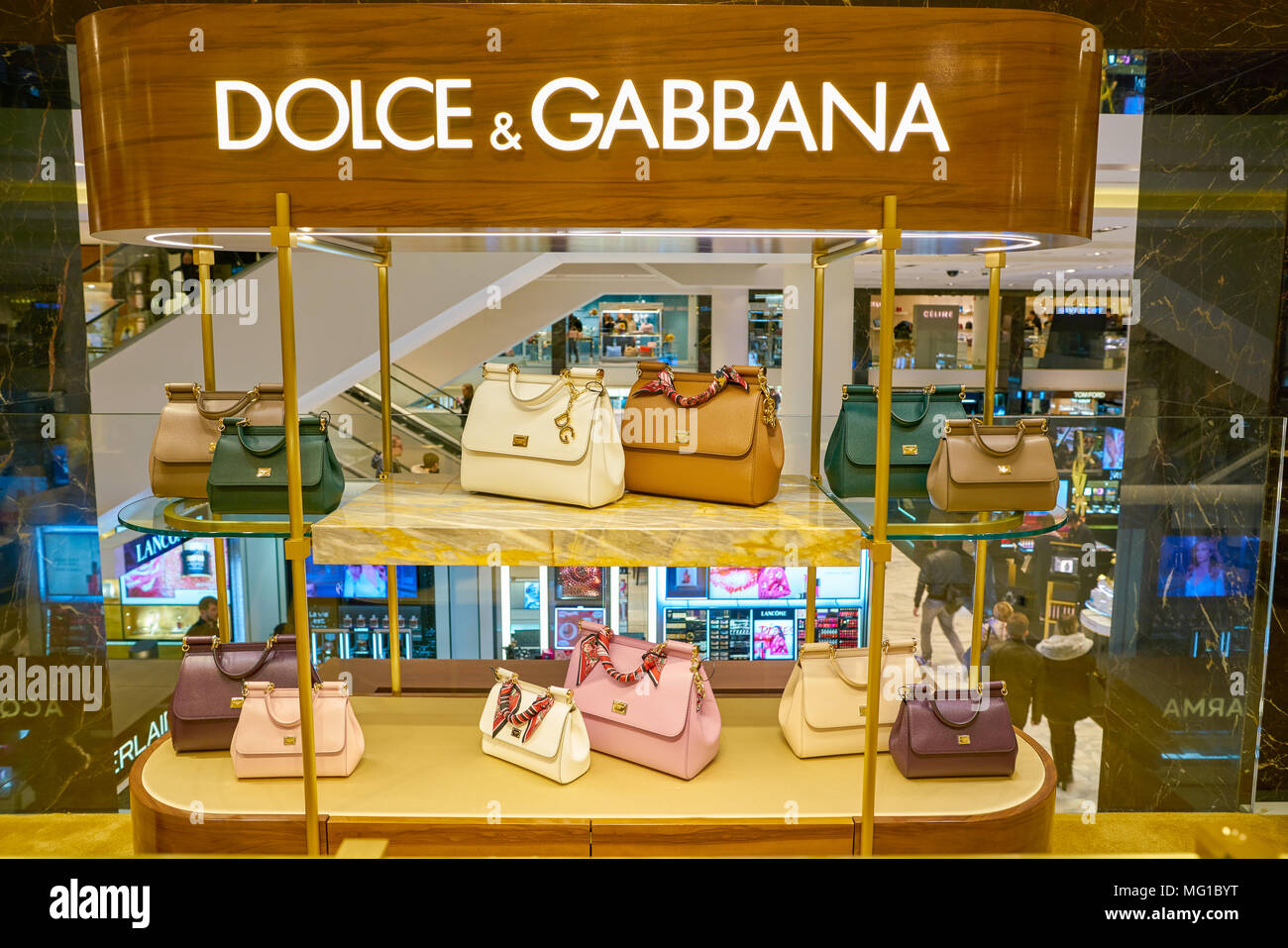 MILAN, ITALY - CIRCA NOVEMBER, 2017: Dolce & Gabbana bags on display at Rinascente. Rinascente is a collection of high-end stores. - Stock Image