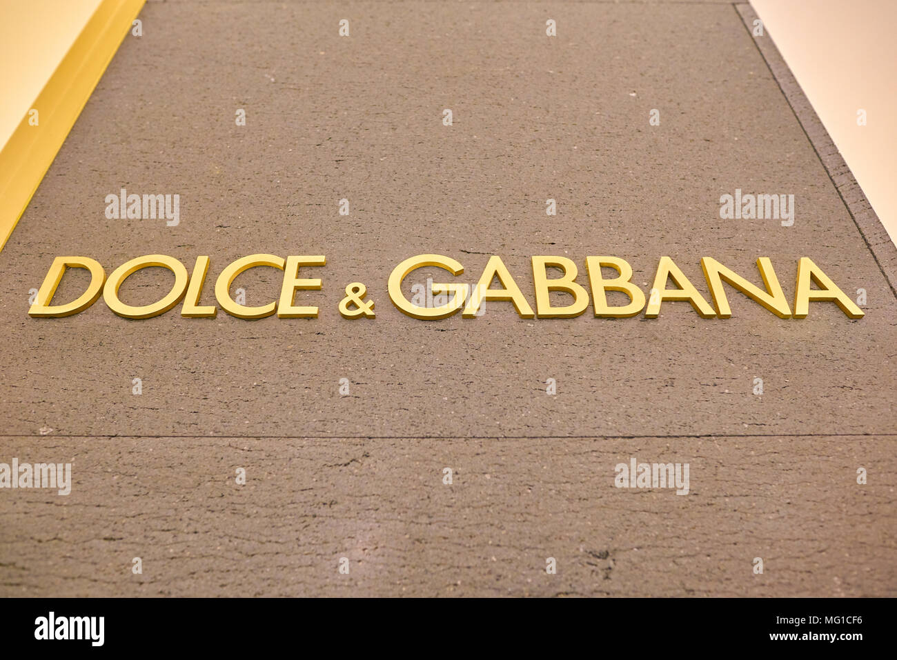 MILAN, ITALY - CIRCA NOVEMBER, 2017: close up shot of Dolce & Gabbana sing at Rinascente. Rinascente is a collection of high-end stores. - Stock Image