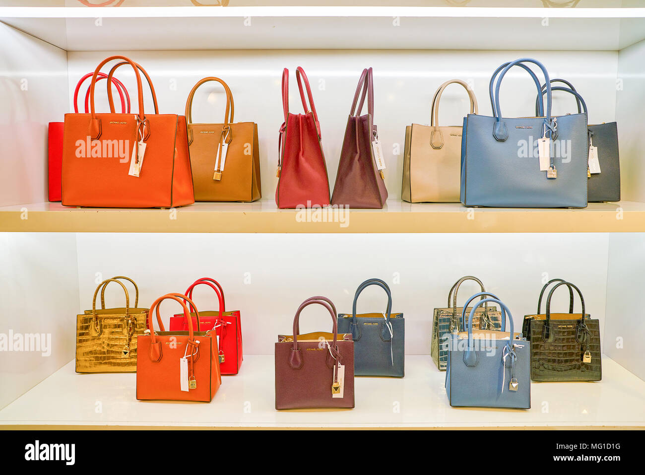 cb1d0b4a9193 MILAN, ITALY - CIRCA NOVEMBER, 2017: Michael Kors bags on display at  Rinascente