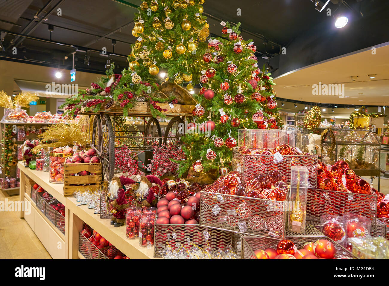 milan italy circa november 2017 christmas decorations on display at rinascente shopping center in milan rinascente is a collection of high end s