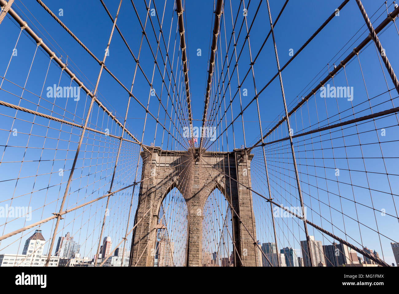 Brooklyn Bridge Tower and cables Stock Photo