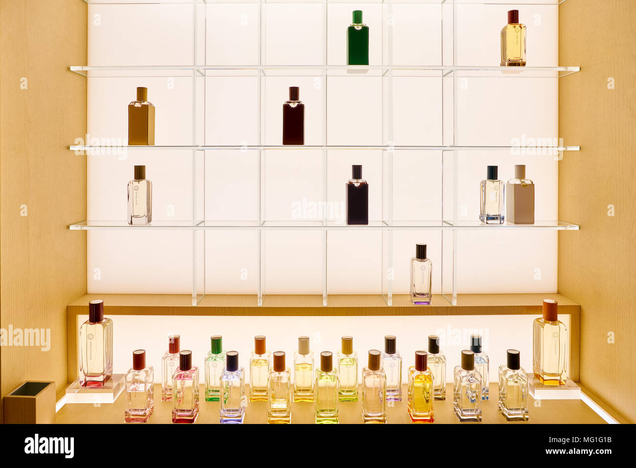 56fd3ff4be ROME, ITALY - CIRCA NOVEMBER, 2017: bottles of Hermes fragrance sit on  display at a second flagship store of Rinascente in Rome.