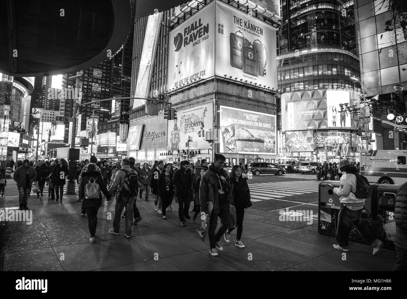 Black and white photo, Times Square New York, NY - Stock Image