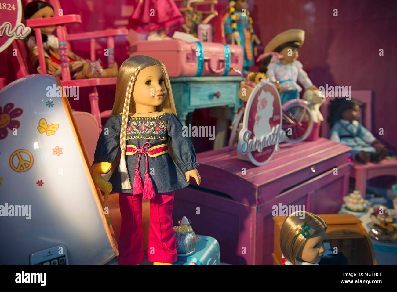 American Girl Doll, Isabelle, Display Shop Window, Store Chicago - Stock Image