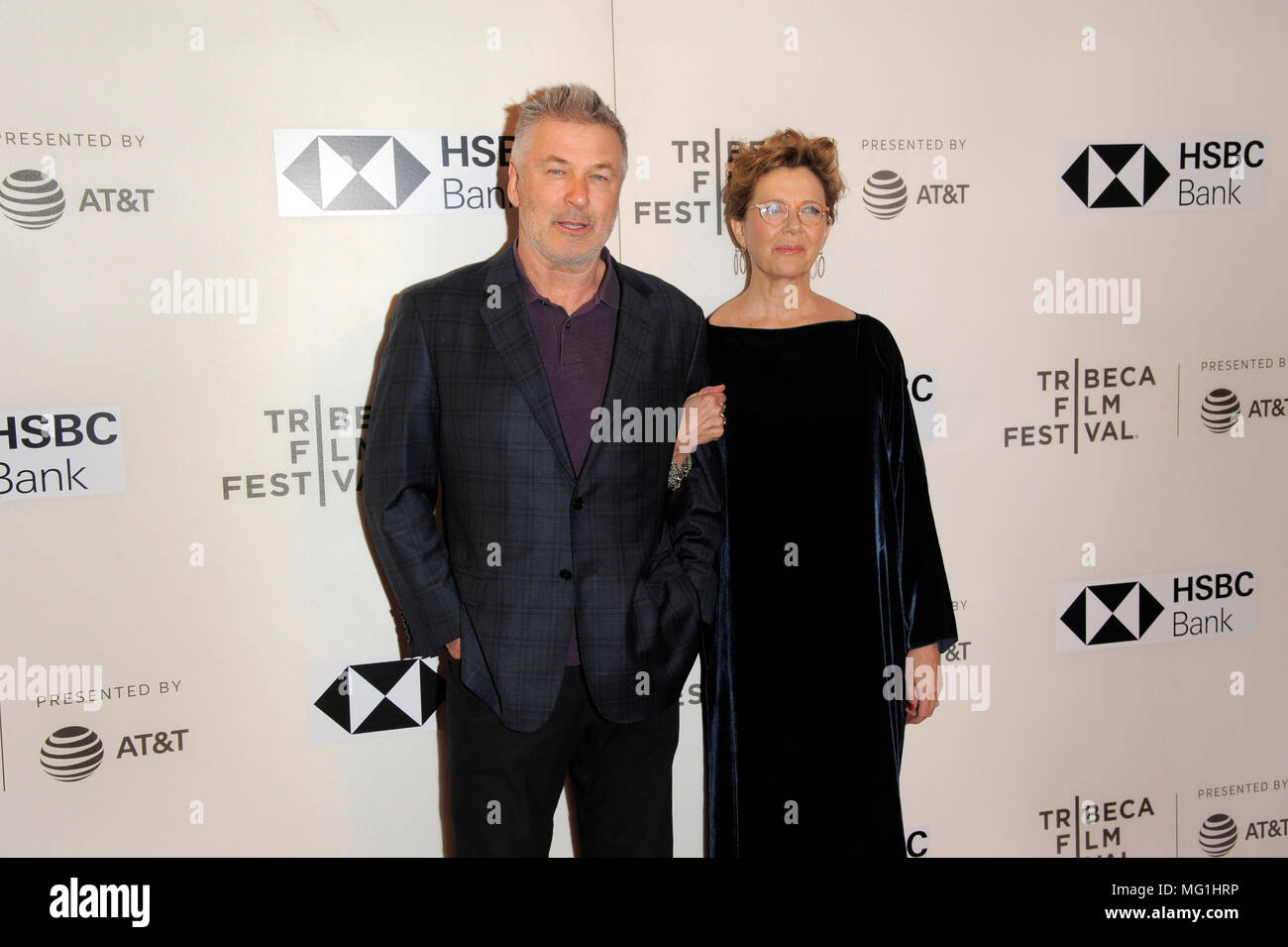 NEW YORK, NY - APRIL 21: Actors Alec Baldwin and Annette Bening attend the premiere of 'The Seagull' during the 2018 Tribeca Film Festival at BMCC Tri Stock Photo