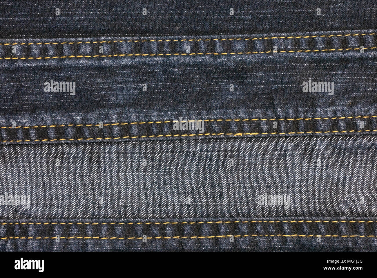 old denim fabric stitched abstract background and texture of jean