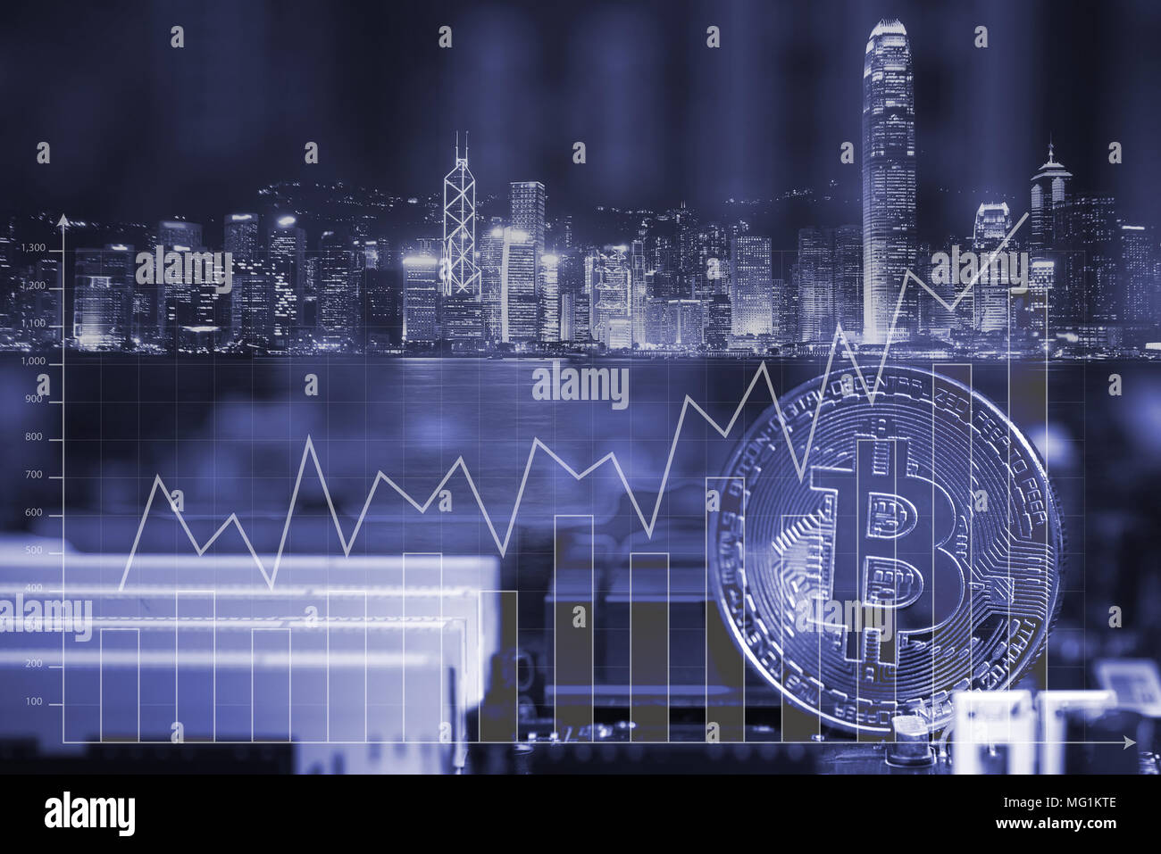 Double Exposure Bitcoin Digital Currency Bit Coin On Motherboard Or Diagram In Detail With Chips City Background And Financial Graph Chart Cryptocurrency Money Con